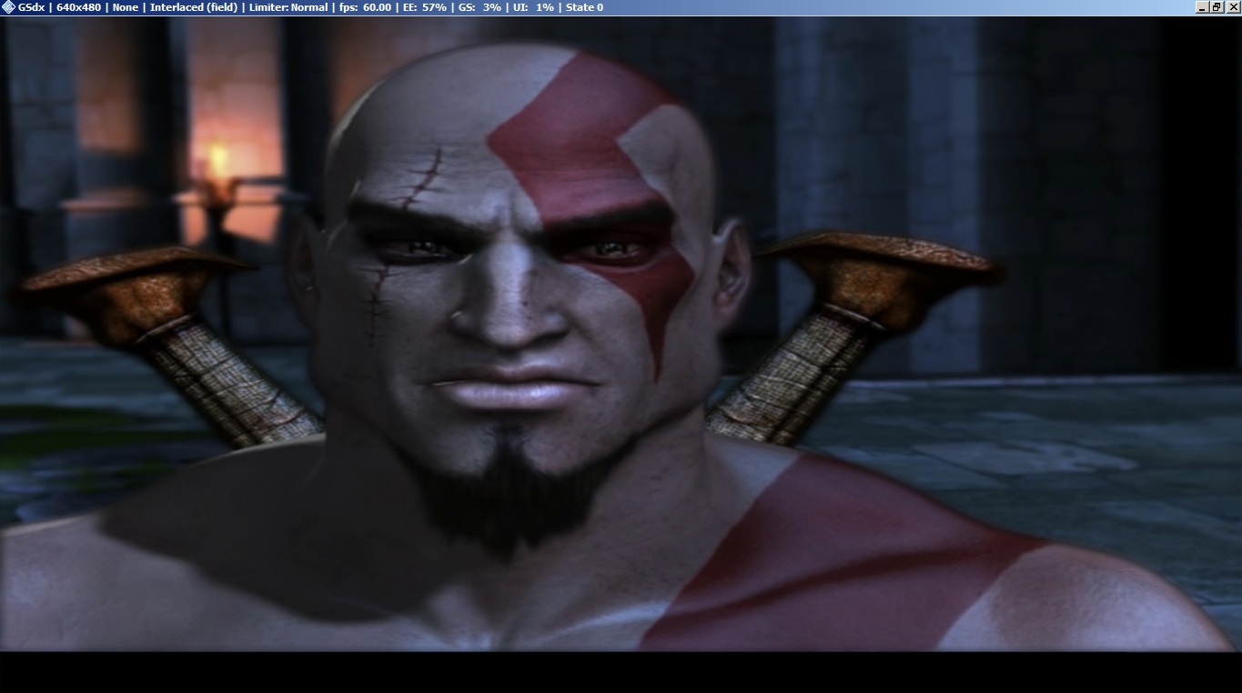 god of war 1 - in cutscenes black bar on bottom