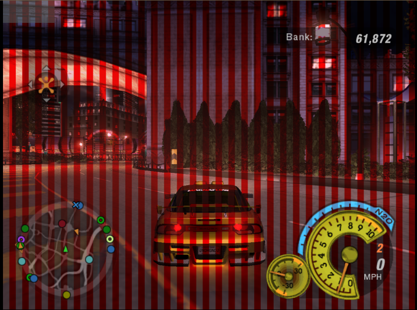 striped screen texture in nfsu2 and others